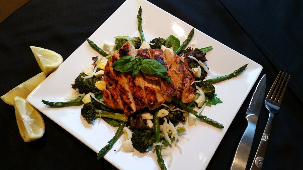 Grilled Lemon, Garlic & Basil Chicken and Roasted Asparagus & Broccol...