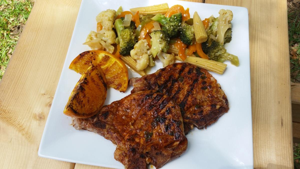 Garlic Basil & Citrus Grilled Pork Chops with Vegetable Stir Fry ...